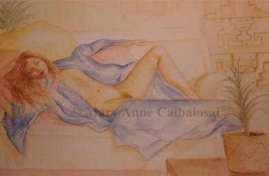 After the Bath, Watercolor, SOLD