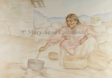 Andean Meal, Watercolor, Framed *Available*