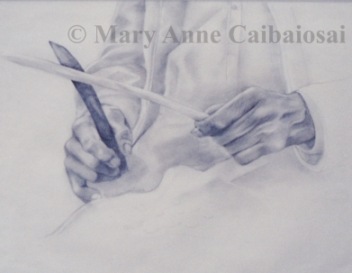 Whittling Hands, Pencil, SOLD