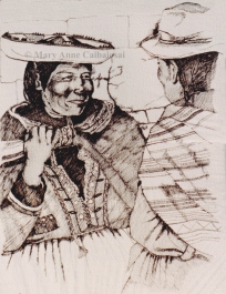 Guatemalan Greeting, Pen and Ink, SOLD