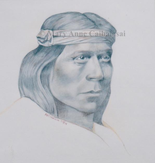 Apache Man, Pencil & Colored Pencil, SOLD