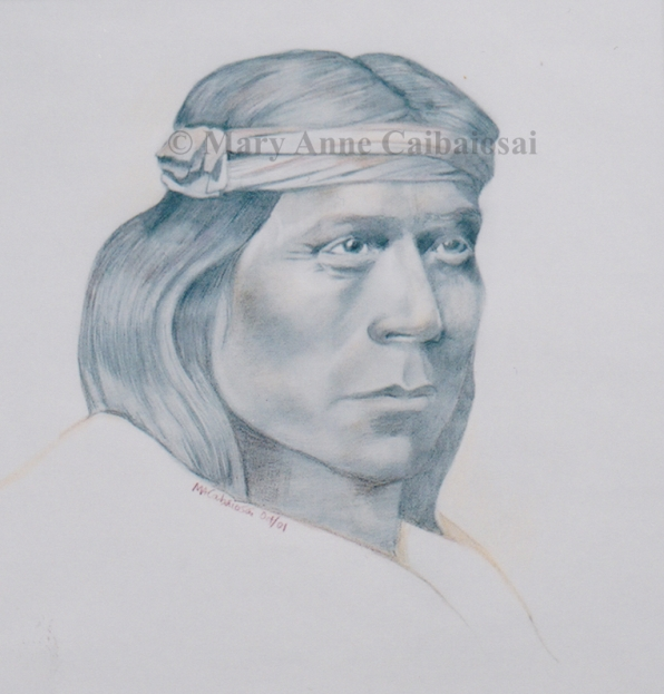 Apache Man, Pencil & Colored Pencil, SOLD