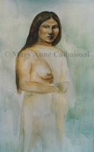 Semi-Clad Woman, Watercolor, Unframed *Available*