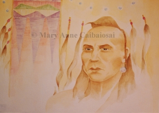 Warrior Song, Watercolor, SOLD