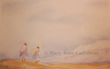 On the Altiplano, Watercolor, SOLD