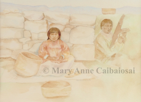 Life in the Andes, Watercolor, Framed *Available*