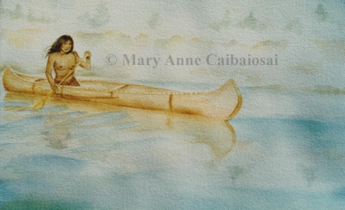 Morning Canoe, Watercolor, SOLD